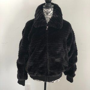 ABS by Allen Schwartz Black Faux Fur Bomber Jacket